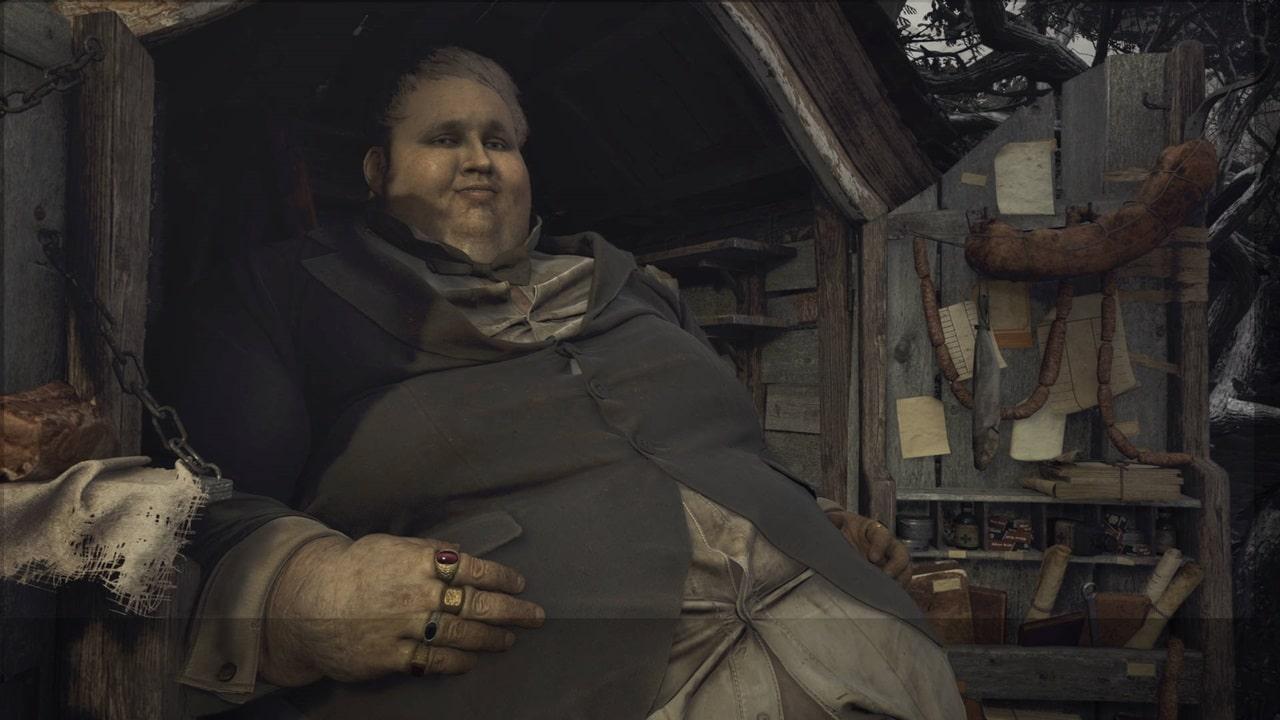 Duque, mercador de Resident Evil Village, sentado em sua carroça