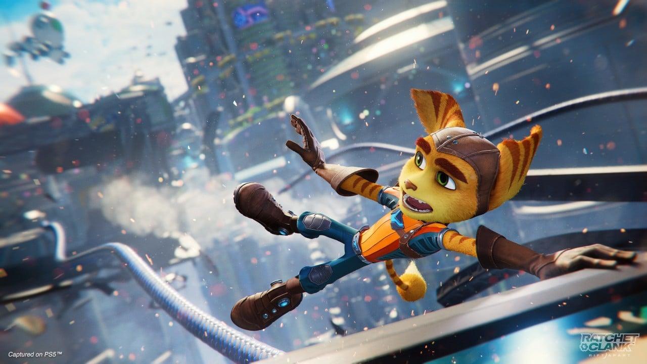 Ratchet deslizando em um fio, em Ratchet & Clank: Em Uma Outra Dimensão