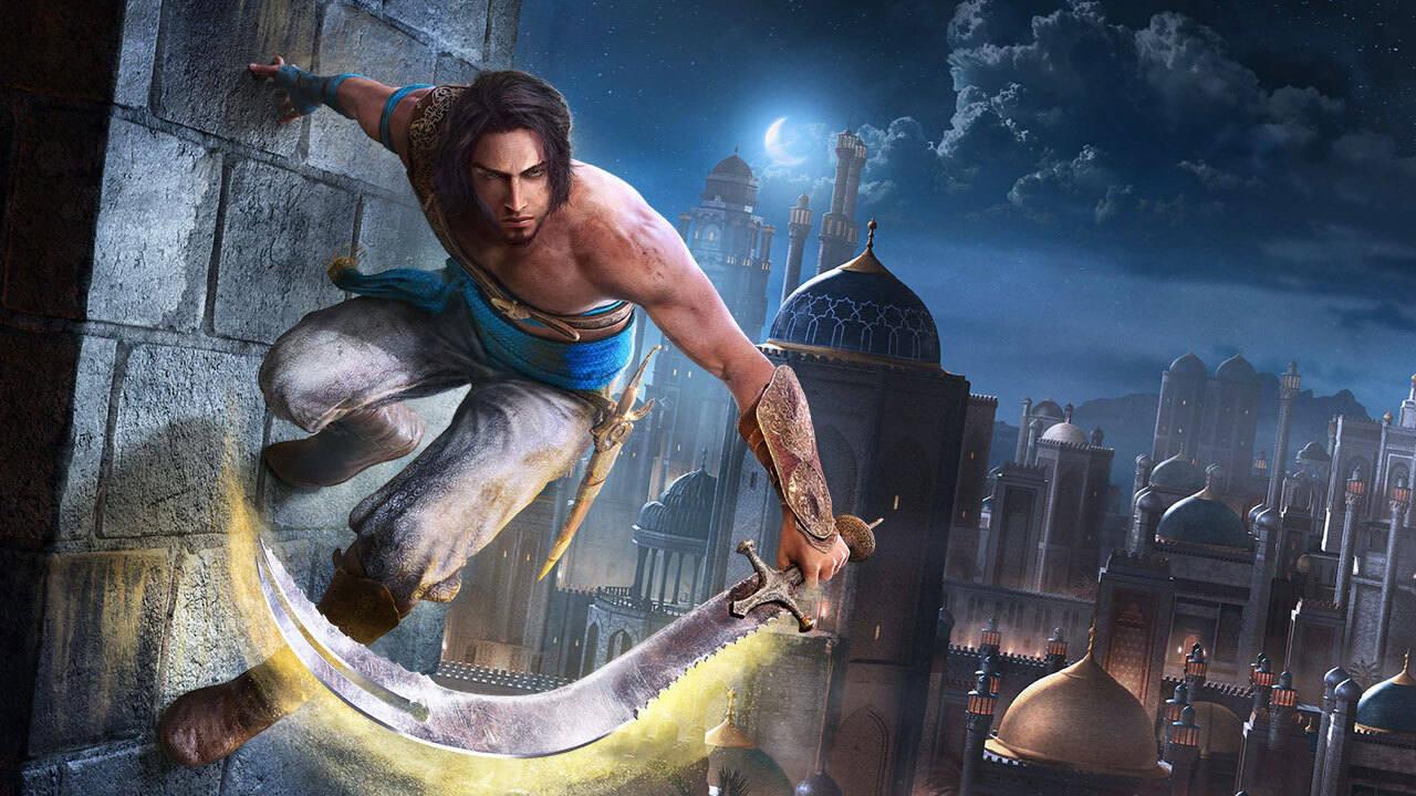 Imagem de capa do protagonista de Remake de Prince of Persia: The Sands of Time em uma parede, segurando uma espada com a mão esquerda