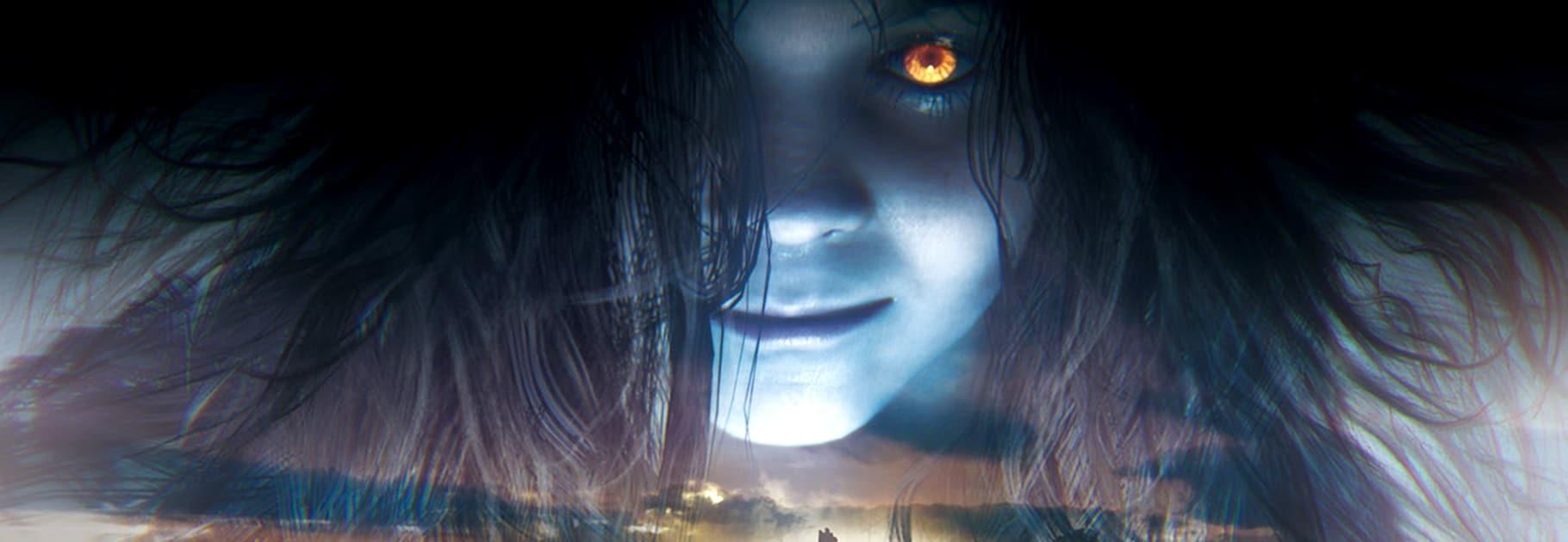 Eveline de Resident Evil 7 com sombra azul no rosto.