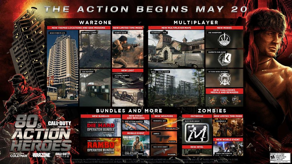 Roadmap de Warzone e Black Ops Cold War com armas, Rambo e mais
