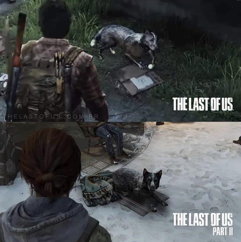 Comparação gráfica de um cãozinho em The Last of Us e The Last of Us Part II.