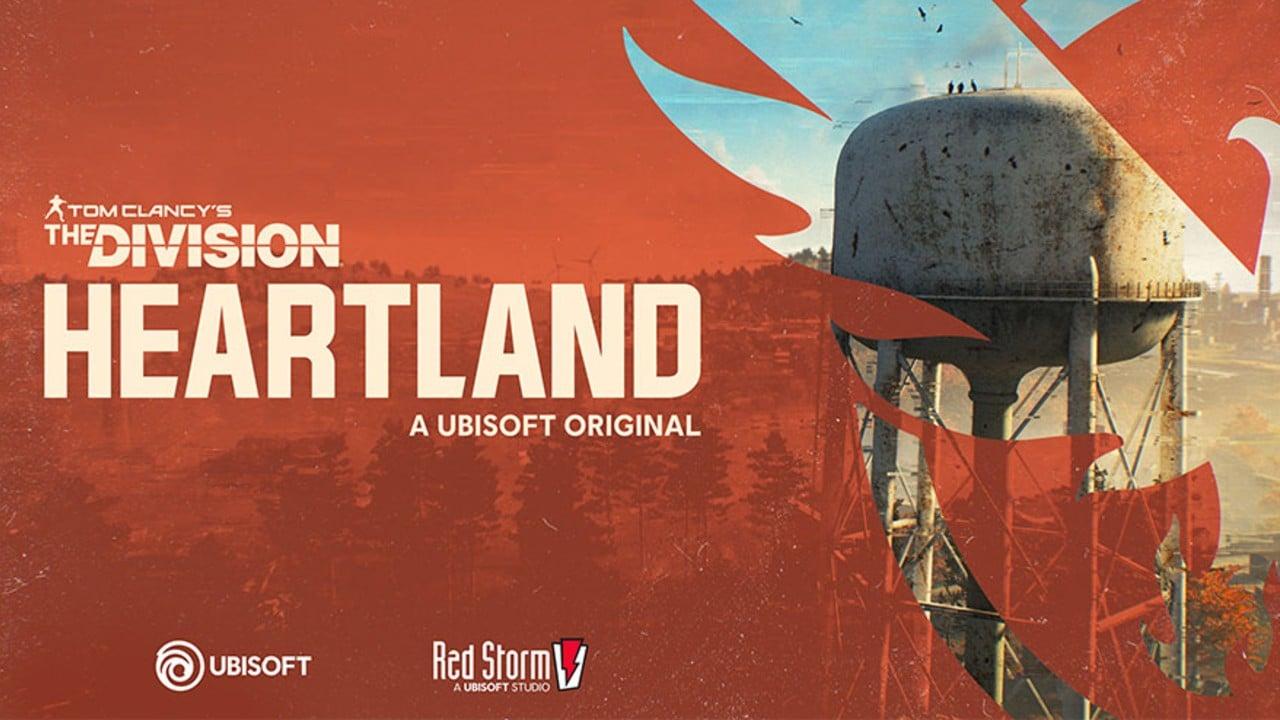 Imagem do jogo Tom Clancy's The Division Heartland com a logo do game ao lado e uma floresta à direita