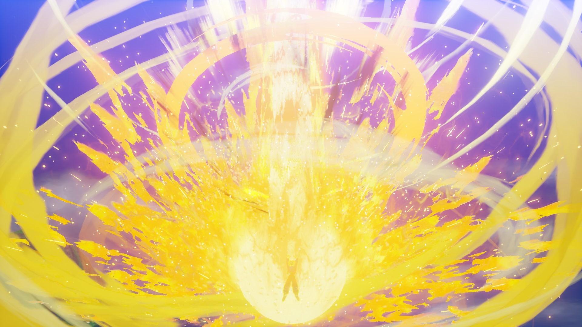 Imagem de um ataque dourado no DLC de Dragon Ball Z: Kakarot