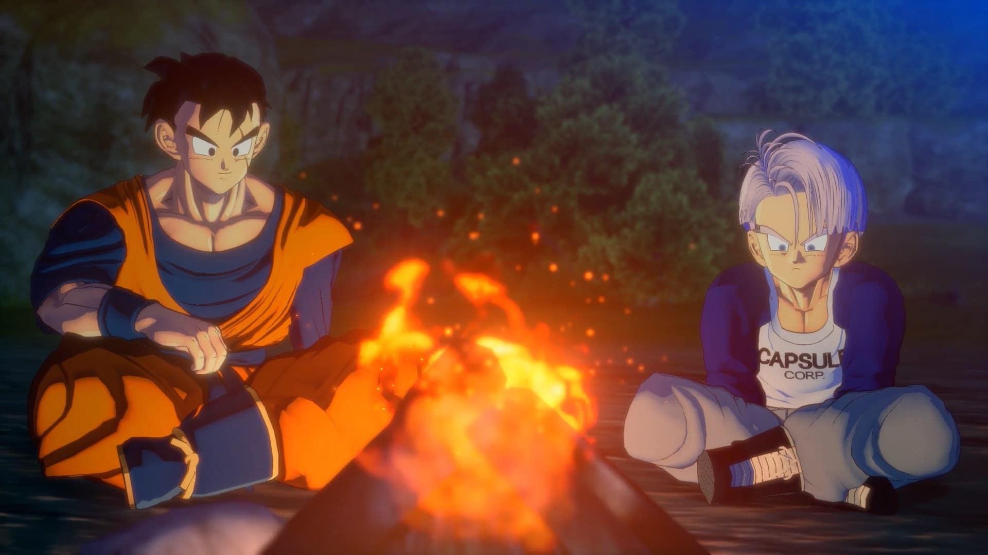Imagem de Gohan e Trunks no DLC de Dragon Ball Z: Kakarot