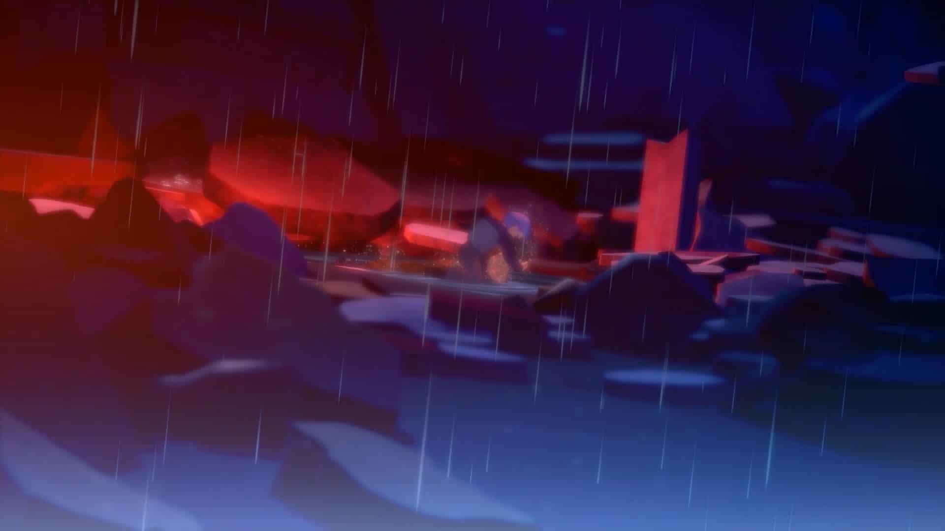 Imagem do Trunks no fundo deitado no no DLC de Dragon Ball Z: Kakarot