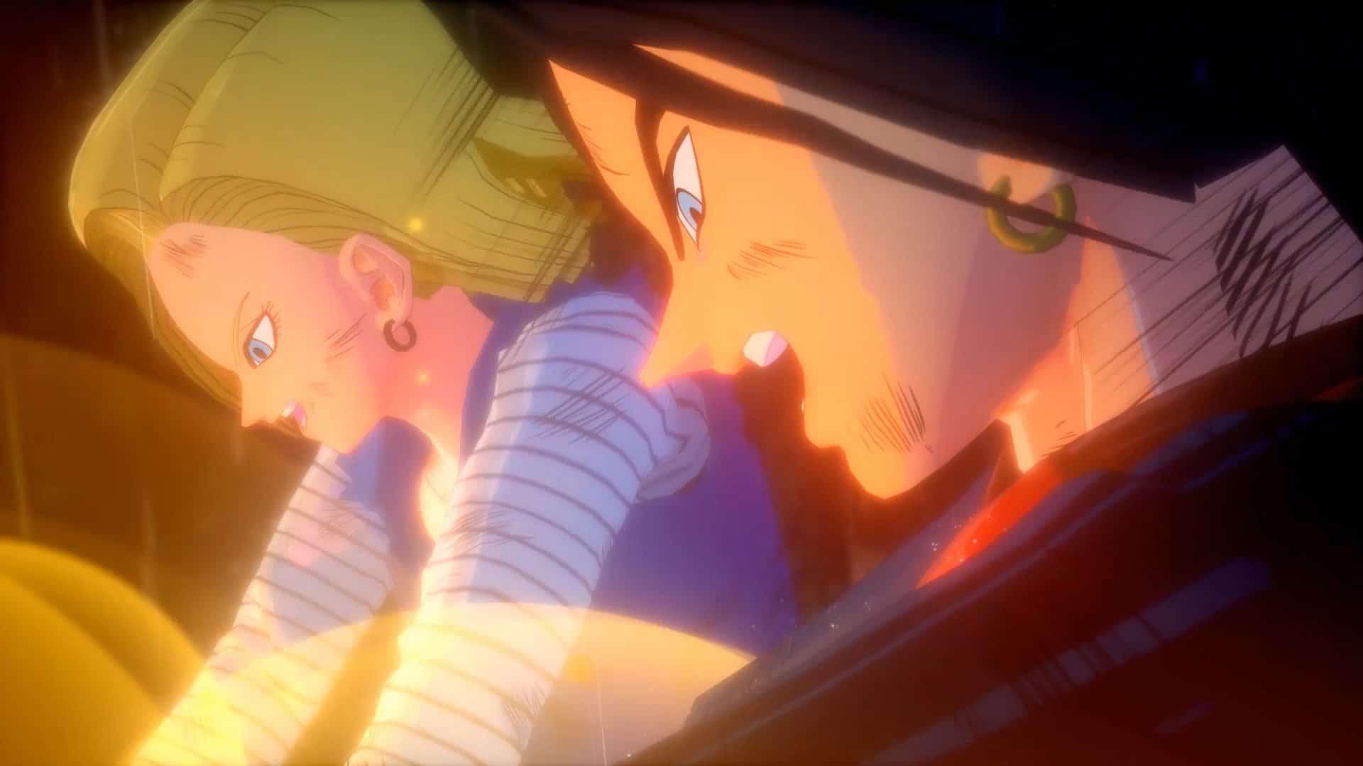 Imagem dos andróides 17 e 18 no DLC de Dragon Ball Z: Kakarot