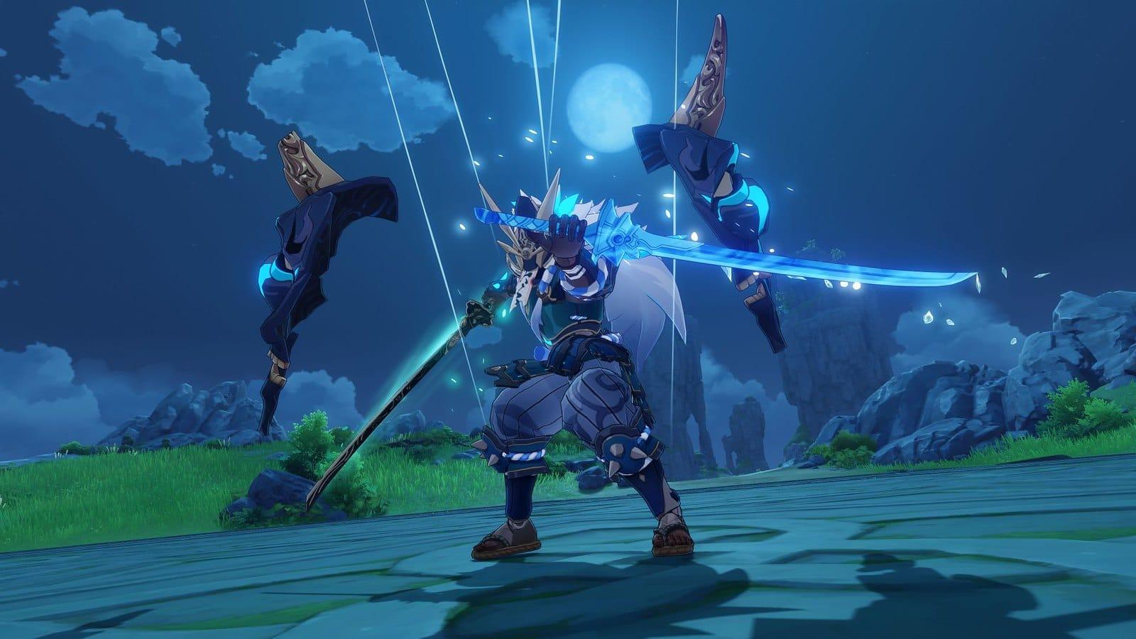 Imagem do update 1.6 de Genshin Impact com um novo inimigo empunhando duas espadas