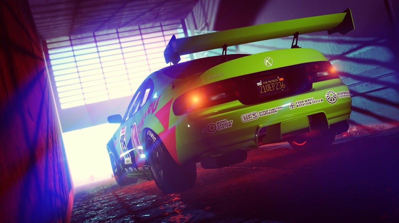 Imagem da traseira de um carro em GTA Online
