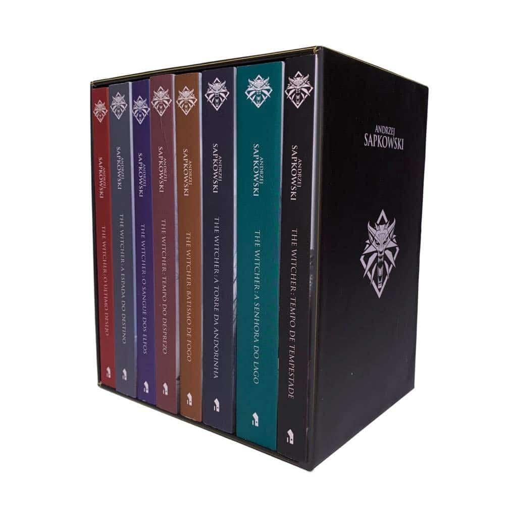 Box com Livros de The Witcher capa game comprar