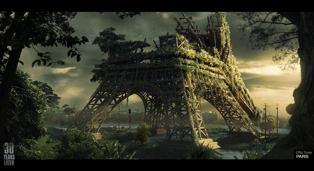 Imagem da matéria de The Last of Us 2 com a Torre Eiffel reimaginada em um cenário apocalíptico