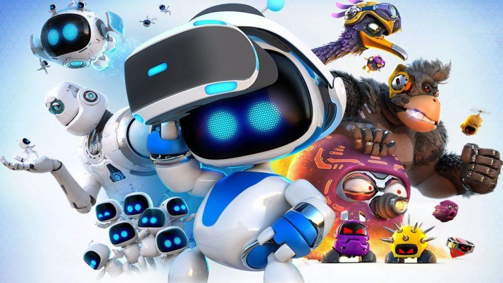 Imagem de capa do jogo Astro Bot, da PlayStation, com o protagonista no centro segundo um PS VR em sua cabeça
