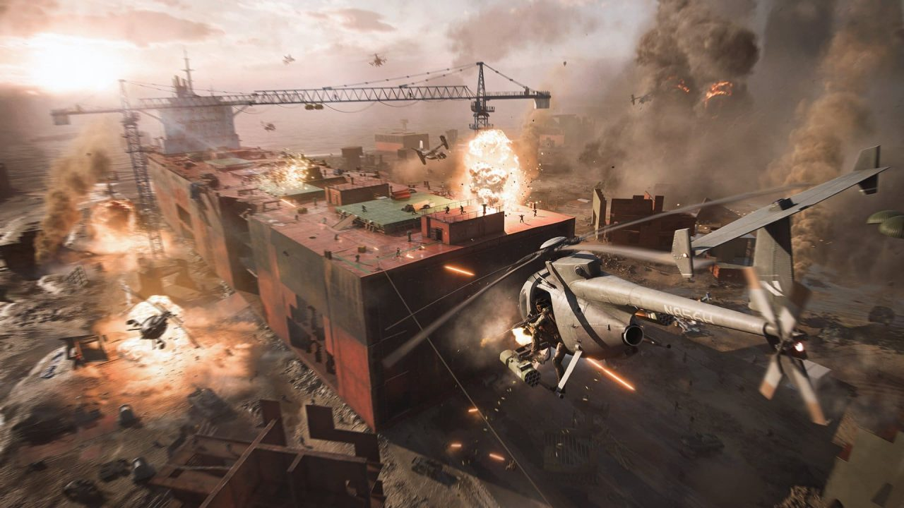 Porto sendo destruido em BATTLEFIELD 2042