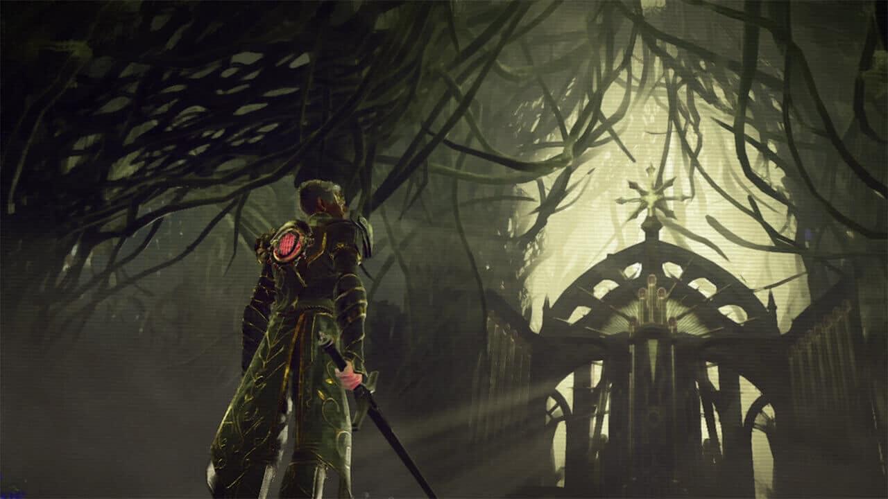 Imagem de capa do jogo Babylon's Fall com um personagem segurando uma espada olhando para o alto