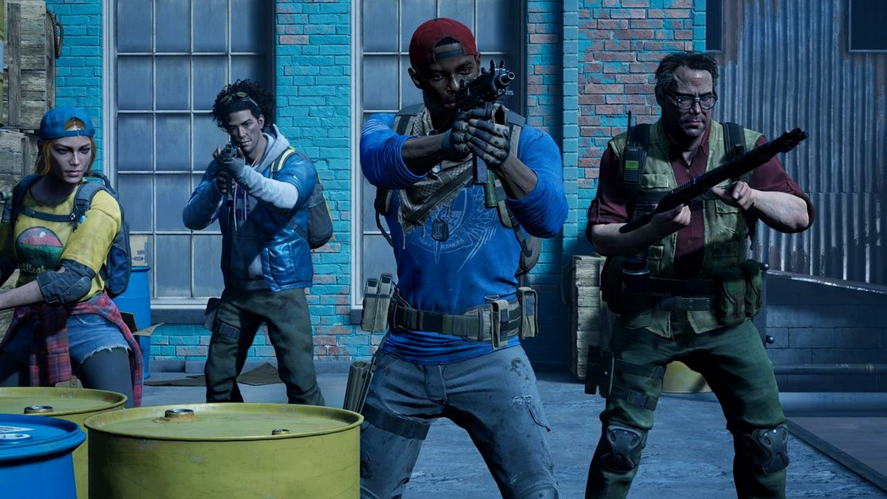 Personagens de Back 4 Blood segurando armas.