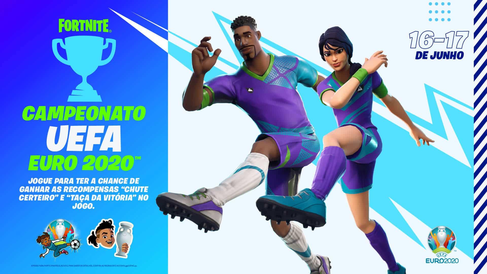Imagem de dois jogadores de futebol em Fortnite e uma descrição de um torneio