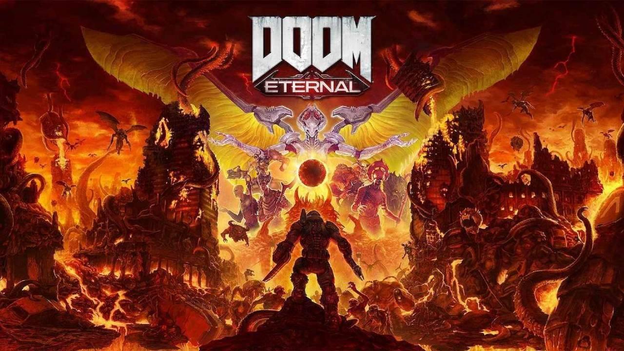 Imagem de capa do jogo DOOM Eternal com a silhueta do personagem principal ao fundo e um cenário do jogo ilustrado a foto