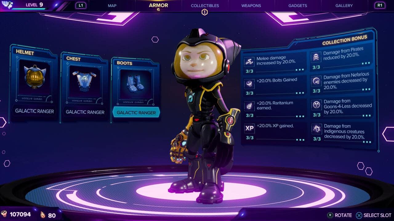 Imagem da matéria de dicas de Ratchet & Clank com a protagonista Rivet usando uma armadura