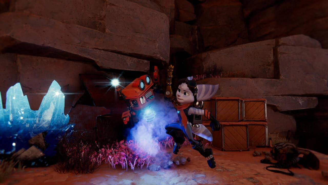 Imagem da matéria de dicas de Ratchet & Clank com a protagonista Rivet e o robô Spybot
