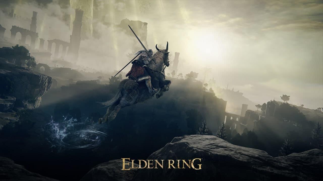 Imagem de capa do jogo Elden Ring com o protagonista montado em um cavalo