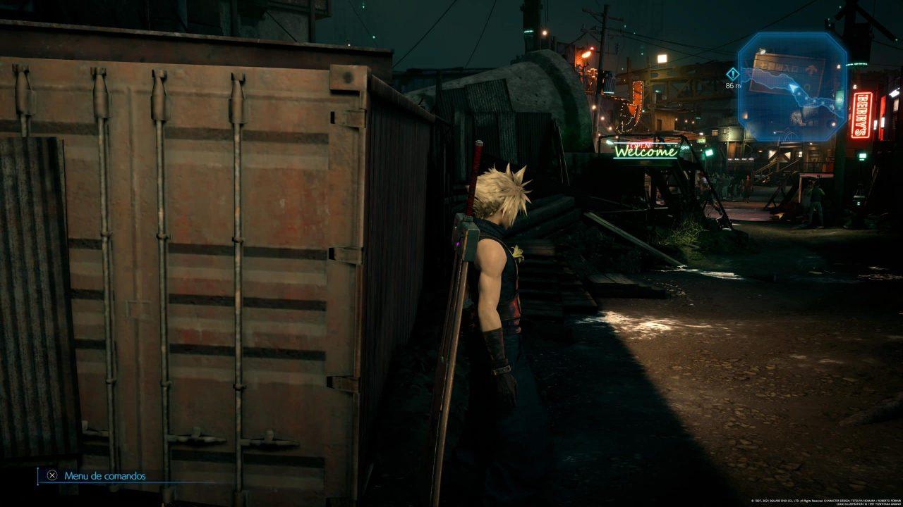 Imagem do jogo Final Fantasy VII Remake Intergrade com o protagonista de lado