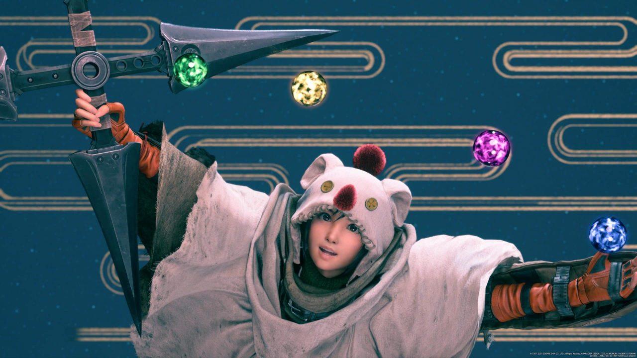 Imagem do jogo Final Fantasy VII Remake Intergrade da protagonista olhando para matérias no ar