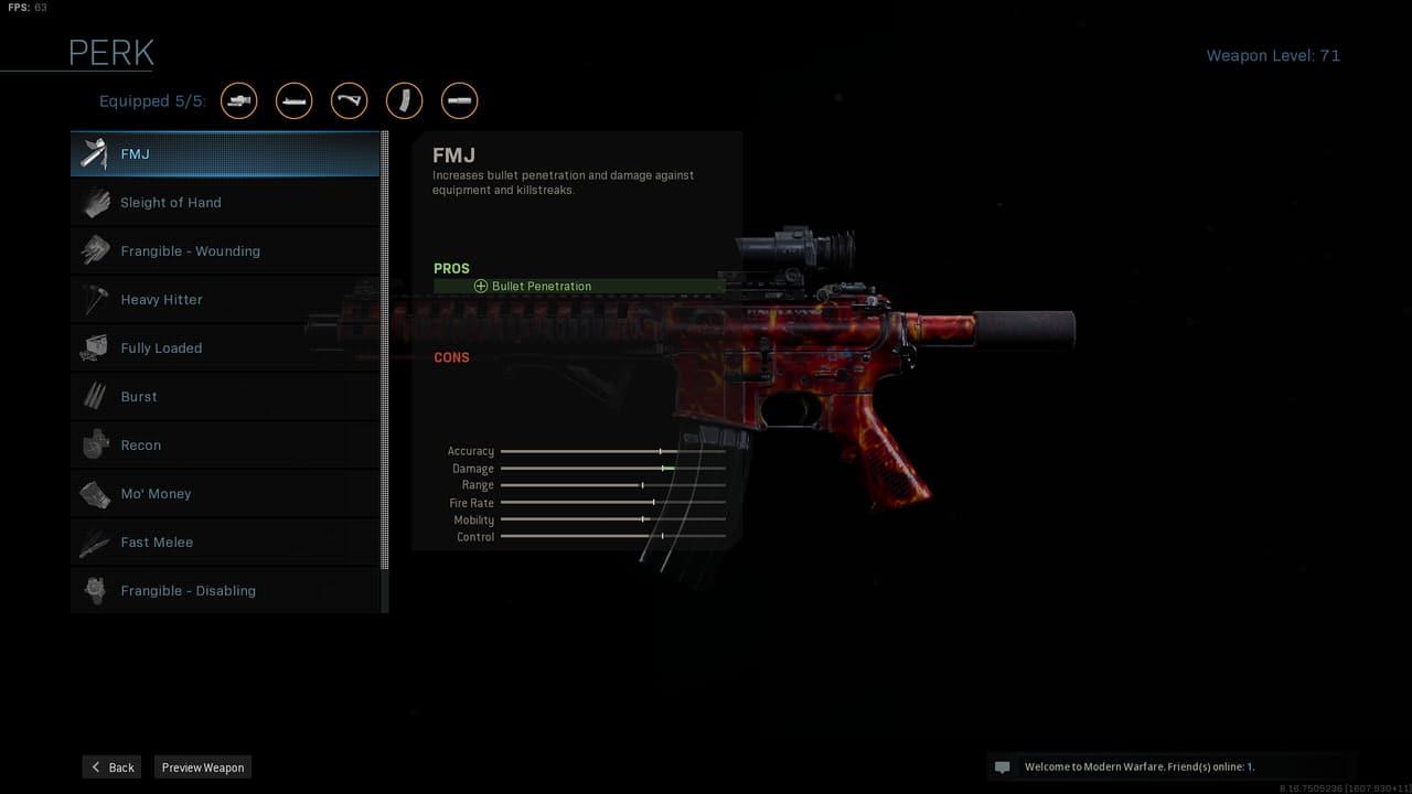 Imagem da vantagem de arma FMJ em Modern Warfare