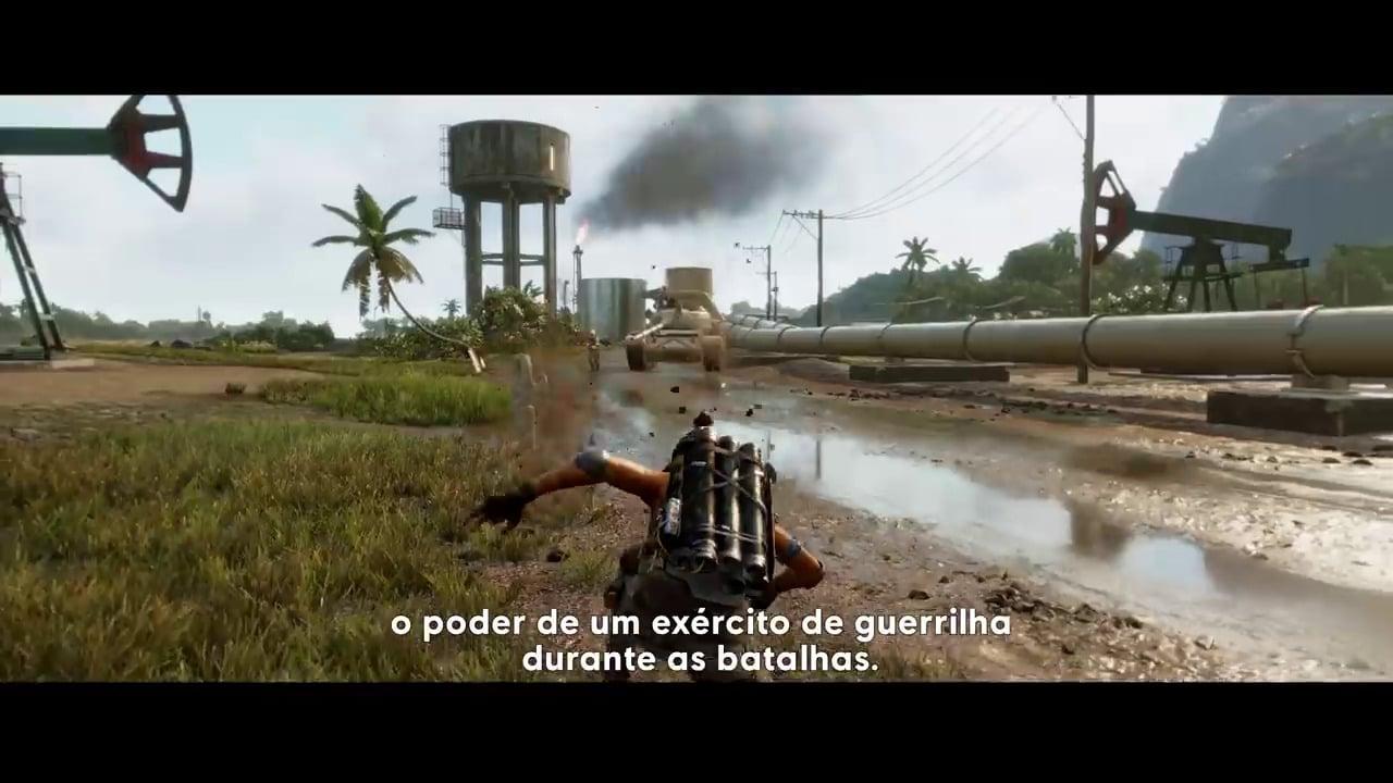 Imagem do jogo de Far Cry 6 em terceira pessoa com a protagonista do jogo lançando mísseis de uma mochila a jato