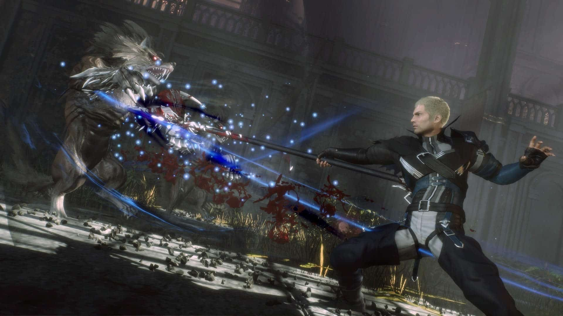 Imagem do jogo Stranger of Paradise: Final Fantasy Origin com o protagonista usando uma lança contra um inimigo