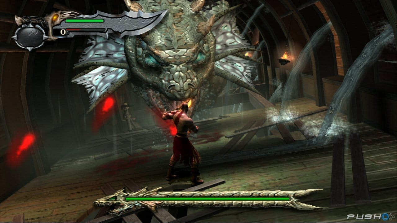Imagem de Kratos contra um monstro em God of War Collection, da Bluepoint Games