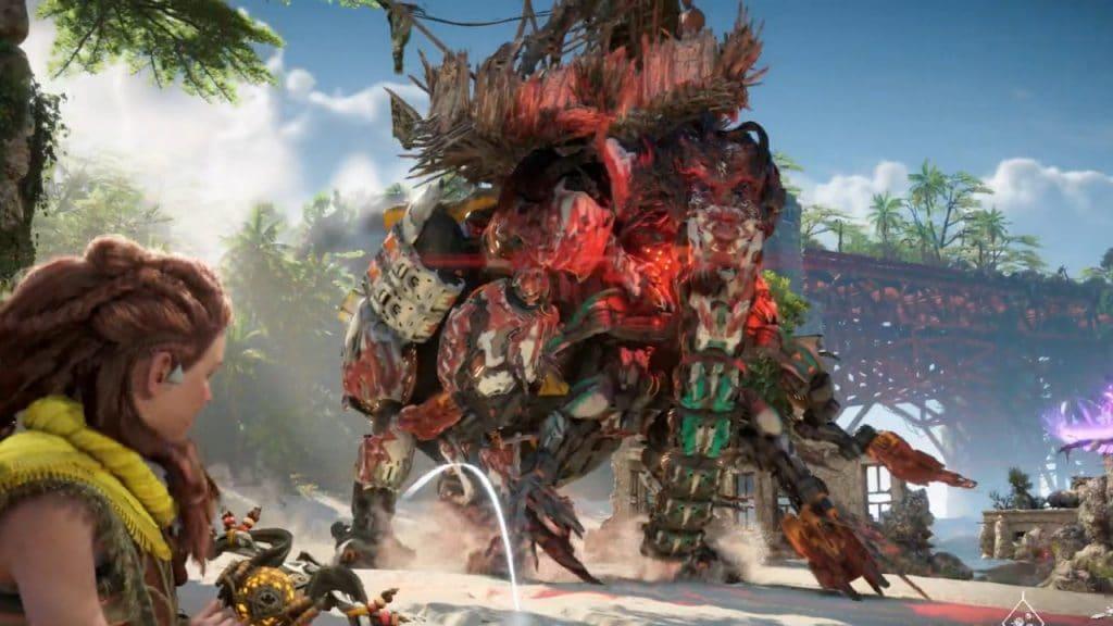 Aloy, personagem de Horizon Forbidden West, enfrentando um grande mamute mecânico revela os vários detalhes de Horizon Forbidden West