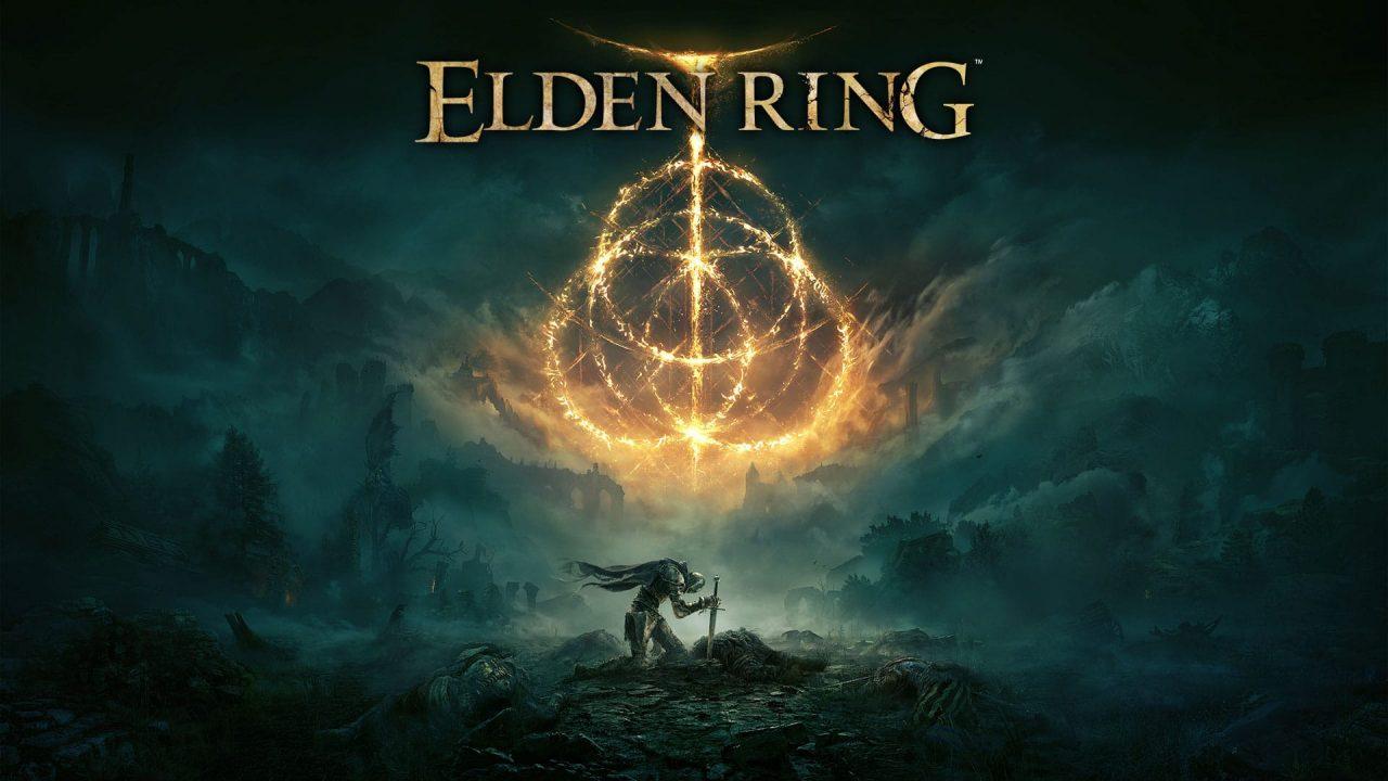 Foto de capa de uma das imagens de Elden Ring com um personagem no fundo de joelhos segurando uma espada e a logo do game em destaque