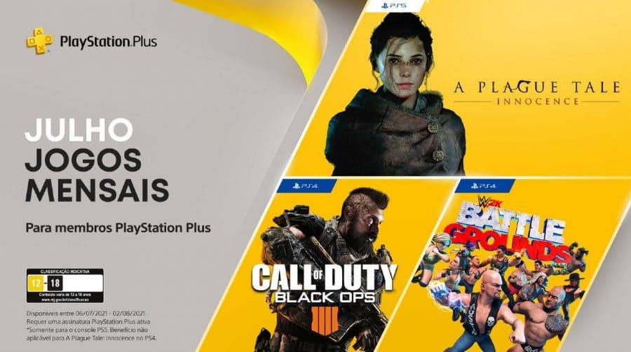 PS Plus de Julho terá A Plague Tale: Innocence, Call of Duty e WWE 2K Battlegrounds