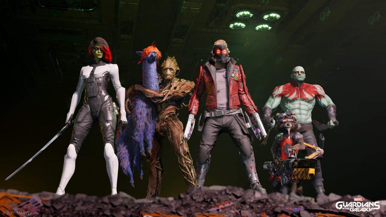Imagem de capa de Marvel's Guardians of the Galaxy com o grupo inteiro em pé perfilados