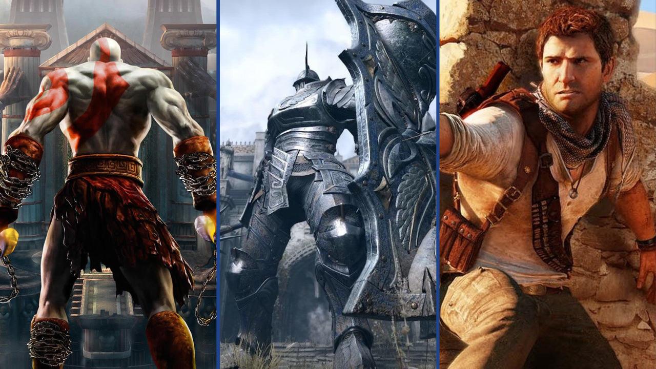 Imagem de capa com três Jogos da Bluepoint Games, God of War Collection, Demon's Souls Remake e Uncharted Collection