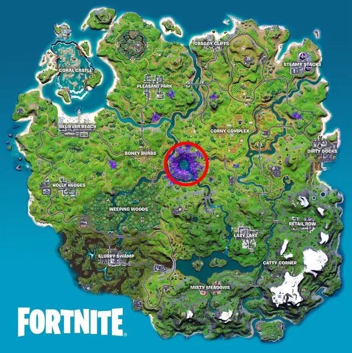 Imagem da localização dos Artefatos Alienígenas em Fortnite com um círculo vermelho marcando no mapa