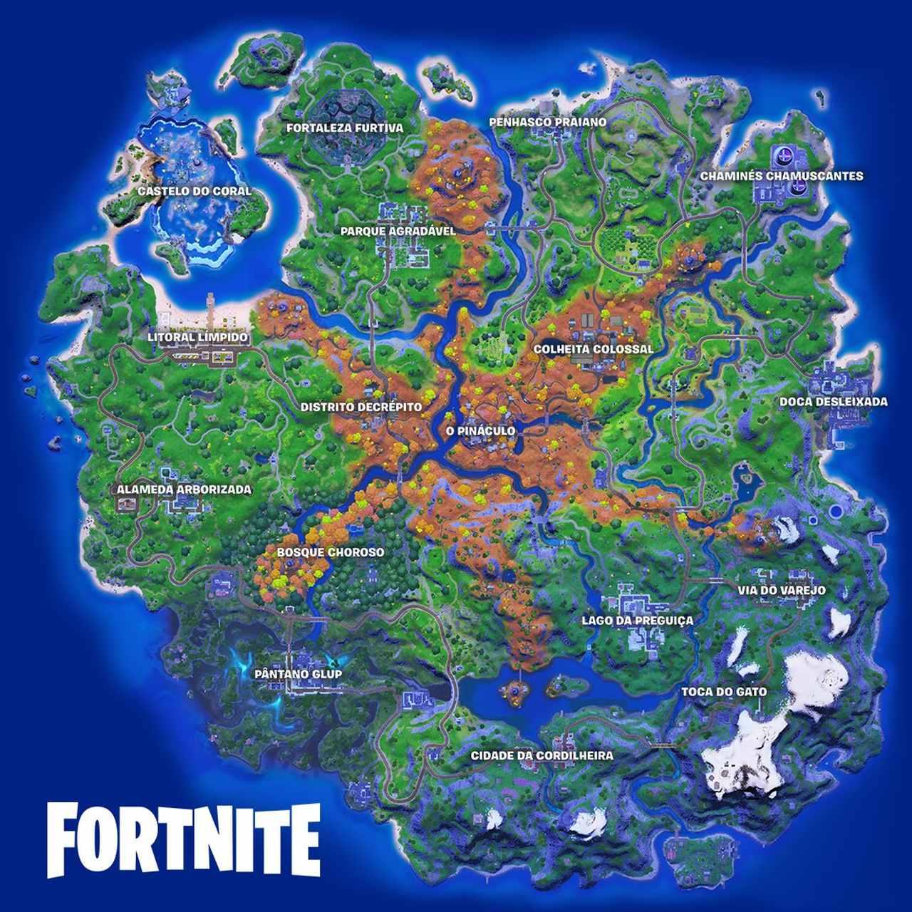 Imagem da matéria sobre o mapa da 7ª temporada de Fortnite com o mapa da 6ª temporada em destaque