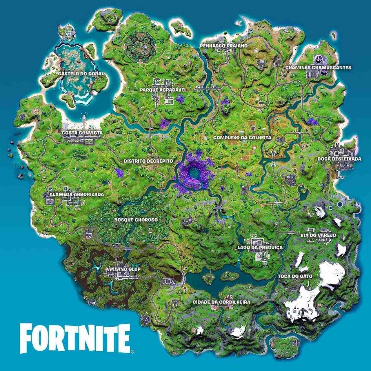 Imagem do mapa da 7ª temporada de Fortnite