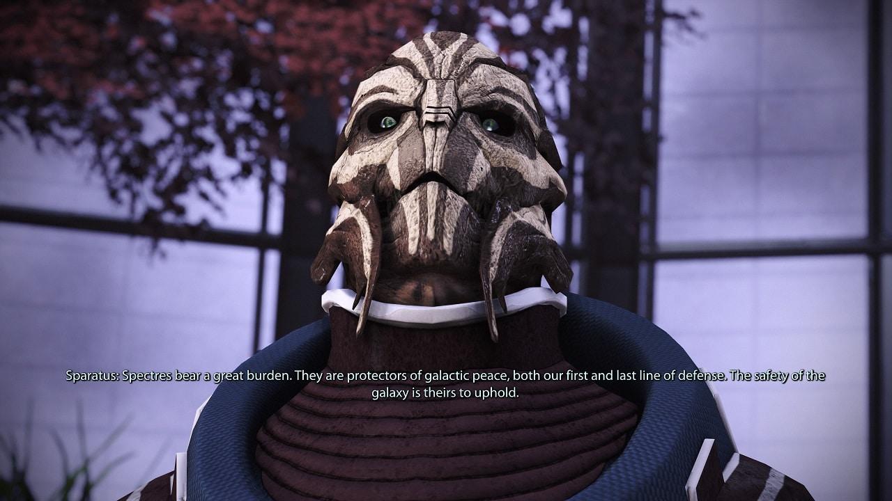 Uma criatura alienígena fazendo discurso no jogo Mass Effect Legendary Edition
