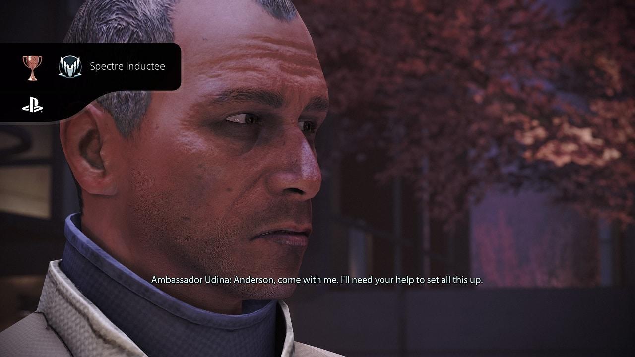 Personagem de Mass Effect Legendary Edition olhando para a direita.