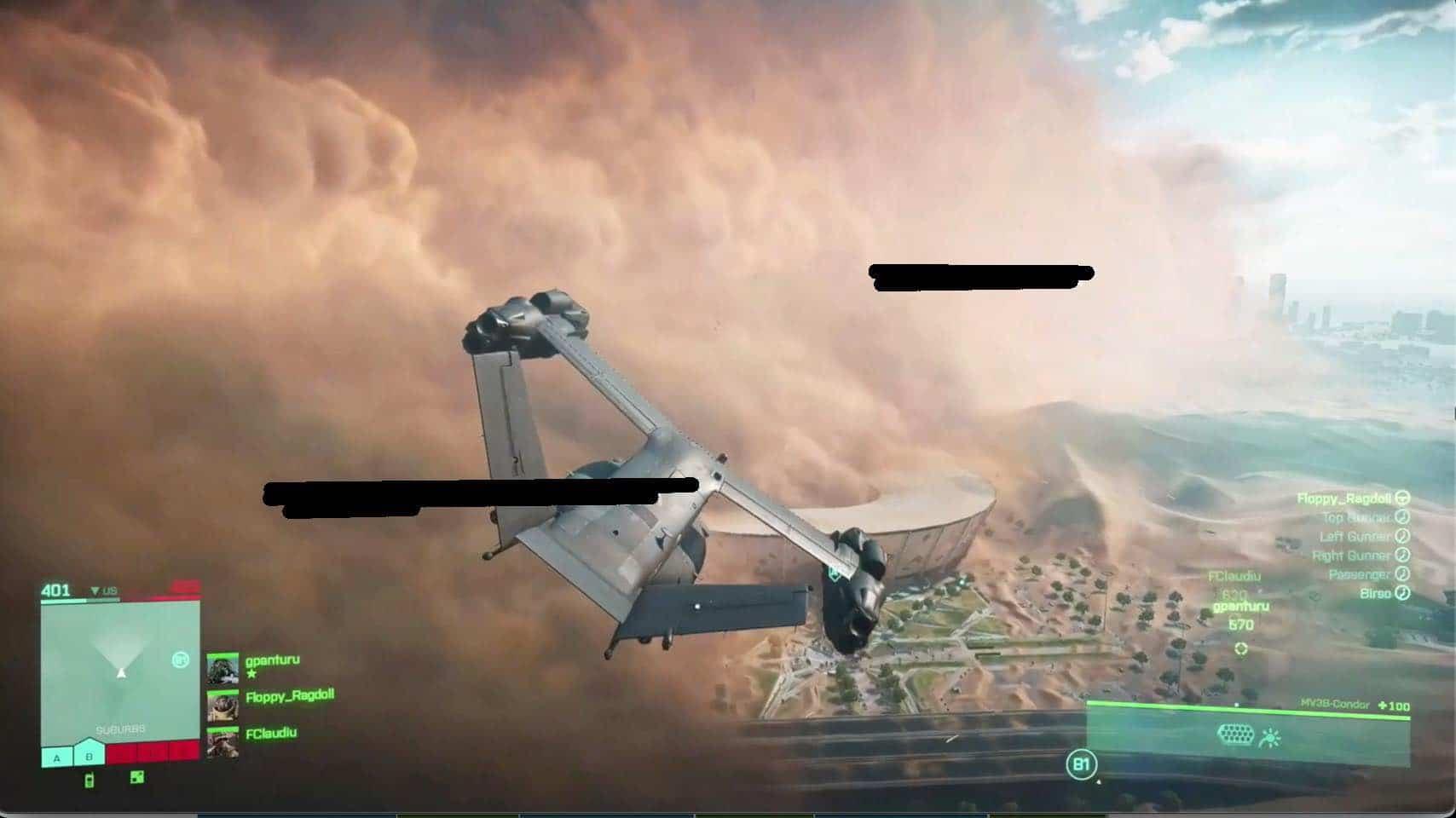 Possível imagem de Battlefield 6 de um avião sobrevoando com uma nuvem de poeira no fundo