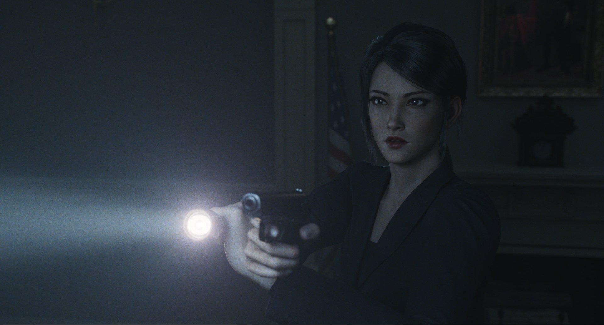 Shen May com uma arma em Resident Evil: No Escuro Absoluto