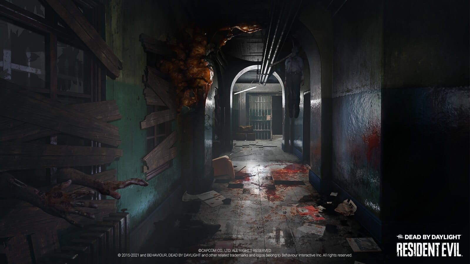 Imagem de um corredor da delegacia de Raccoon City no crossover de Resident Evil em Dead By Daylight