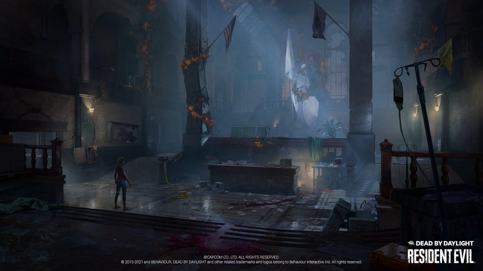 Imagem da delegacia de Raccoon City no crossover de Resident Evil em Dead By Daylight