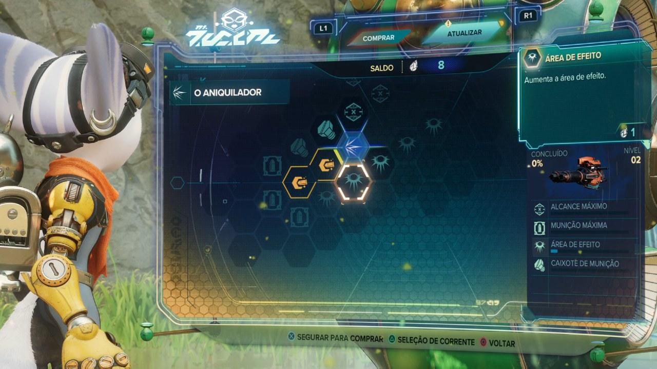 Árvore de habilidades das armas em Ratchet & Clank: Em Uma Outra Dimensão