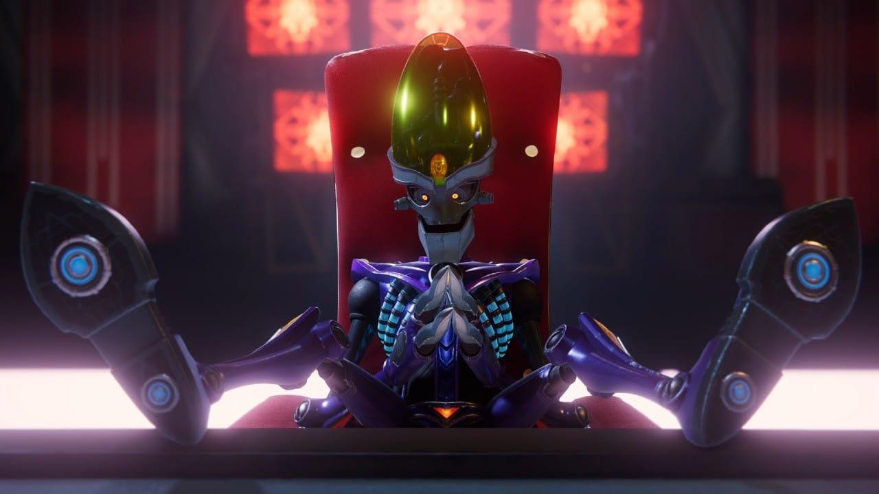 Dr. Nefarious na sua cadeira de imperador, em Ratchet & Clank: Em Uma Outra Dimensão