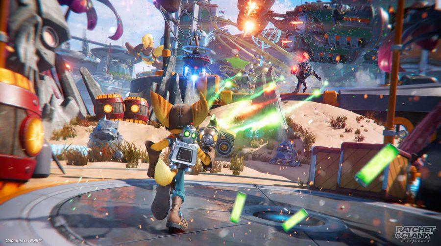 Insomniac mostra a arma Buzz Blades em ação em Ratchet & Clank: Em Uma Outra Dimensão