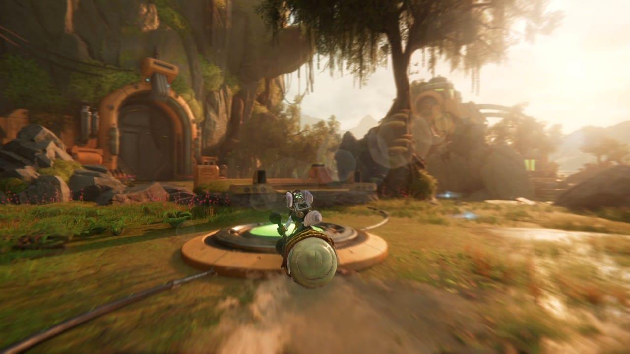 Rivet andando em uma montaria em Ratchet & Clank: Em Uma Outra Dimensão