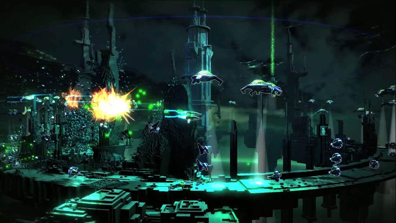 Imagem do jogo Resogun, da Housemarque