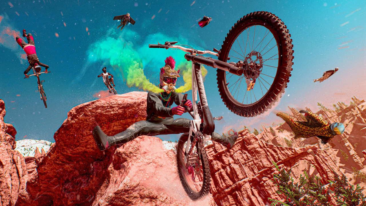 Imagem de Riders Republic com um ciclista em destaque fazendo uma manobra com uma bicicleta no ar